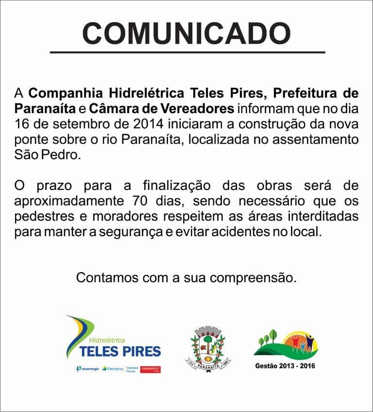 Comunicado ponte rio Paranaíta